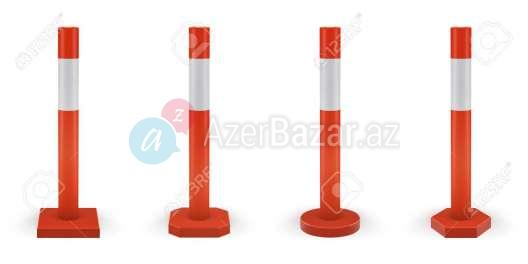 Safety delineator with white stripe. Classic red-orange color. Set of vector road poles.Traffic posts with different types of base.